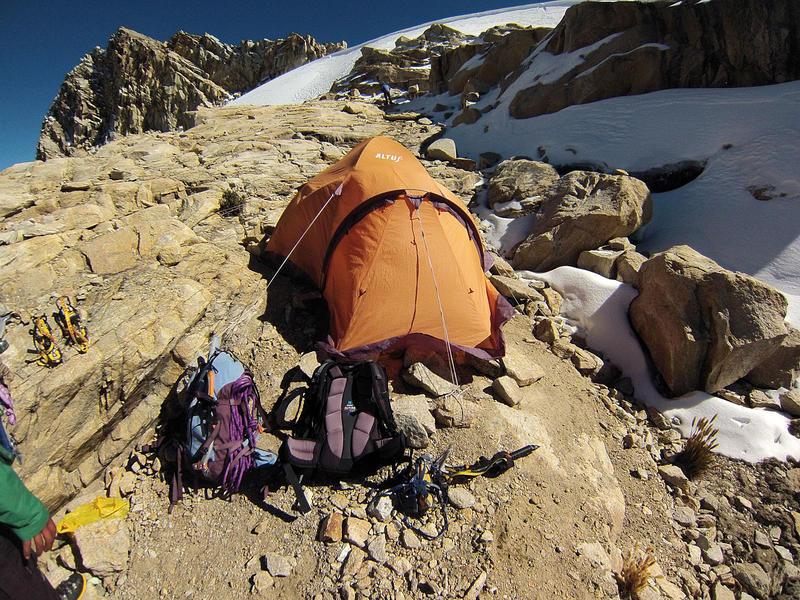 Bivouac de Baptiste Lepoutre lors de son périple en Cordillère des Andes