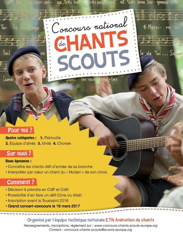 Affiche du concours national de chant scout